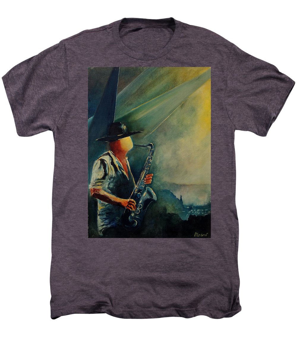 Music Men's Premium T-Shirt featuring the painting Sax Player by Pol Ledent
