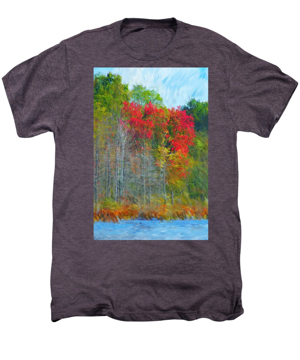 Landscape Men's Premium T-Shirt featuring the digital art Scarlet Autumn Burst by David Lane