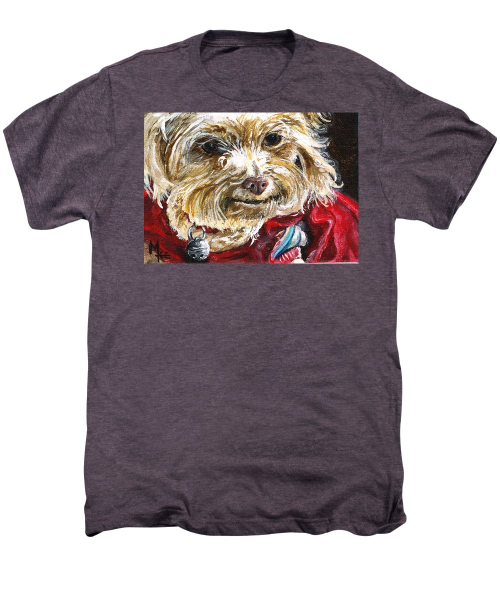Charity Men's Premium T-Shirt featuring the painting Scooter From Muttville by Mary-Lee Sanders