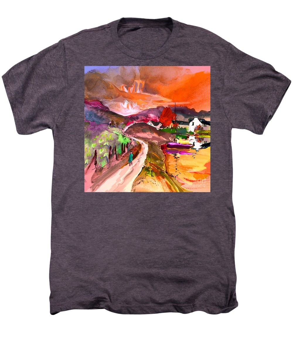 Scotland Paintings Men's Premium T-Shirt featuring the painting Scotland 02 by Miki De Goodaboom