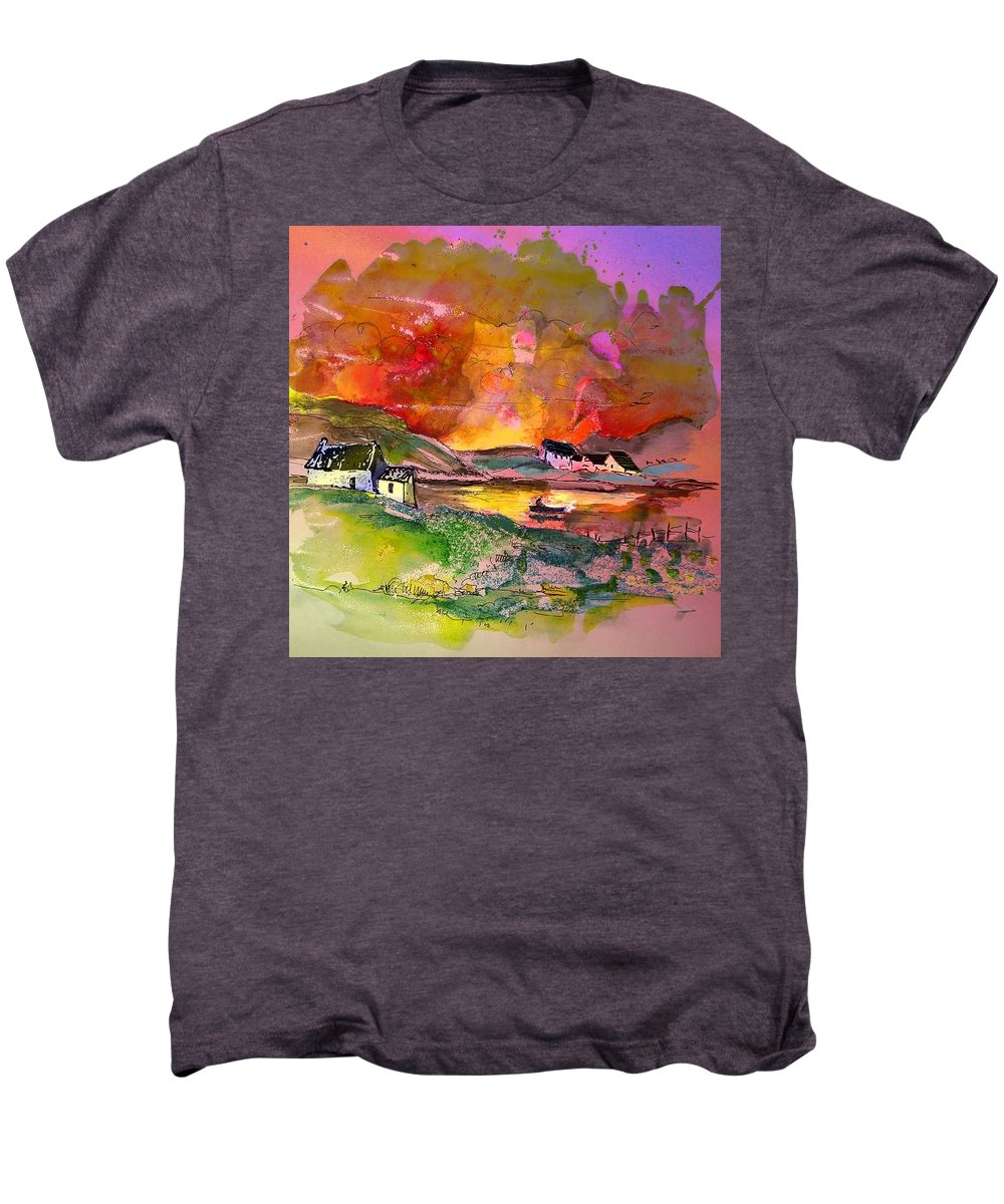 Scotland Paintings Men's Premium T-Shirt featuring the painting Scotland 07 by Miki De Goodaboom