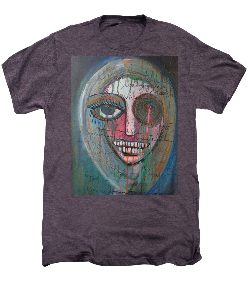 Self Portraits Men's Premium T-Shirt featuring the painting Self Portrait Youre Beautiful by Laurie Maves ART