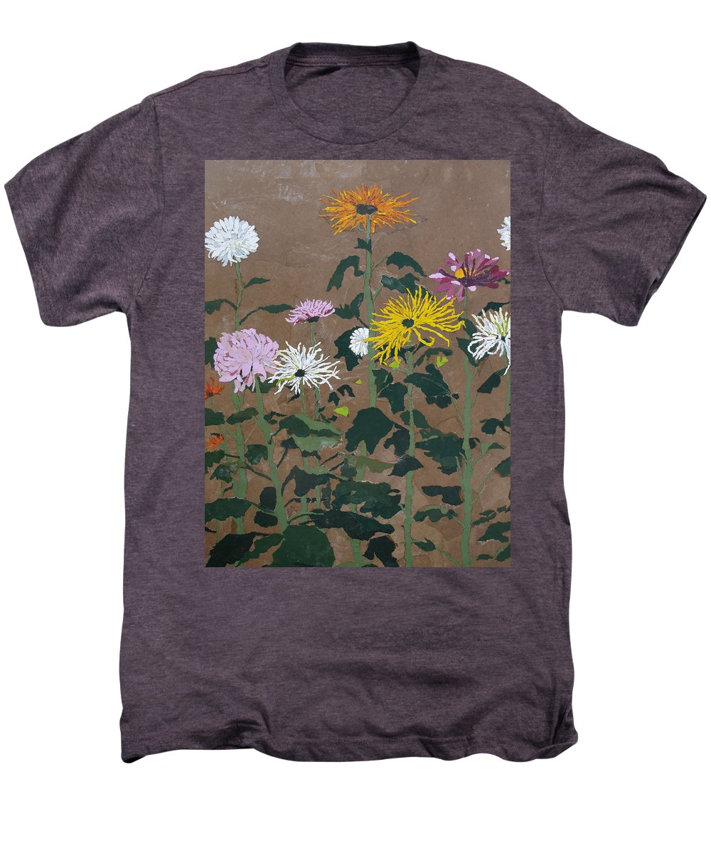 Collage Men's Premium T-Shirt featuring the painting Smith's Giant Chrysanthemums by Leah Tomaino