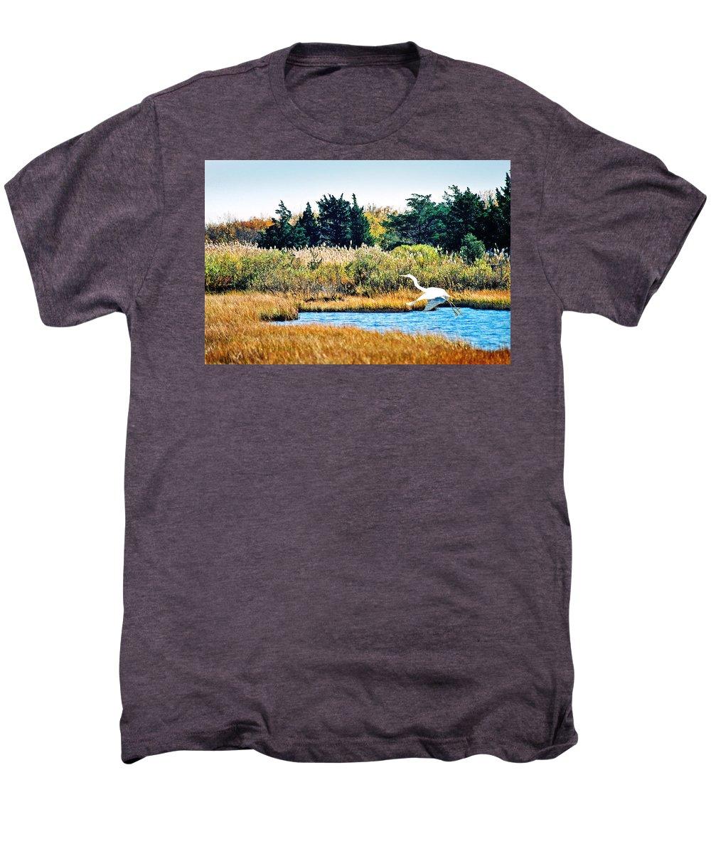 Landscape Men's Premium T-Shirt featuring the photograph Snowy Egret-island Beach State Park N.j. by Steve Karol