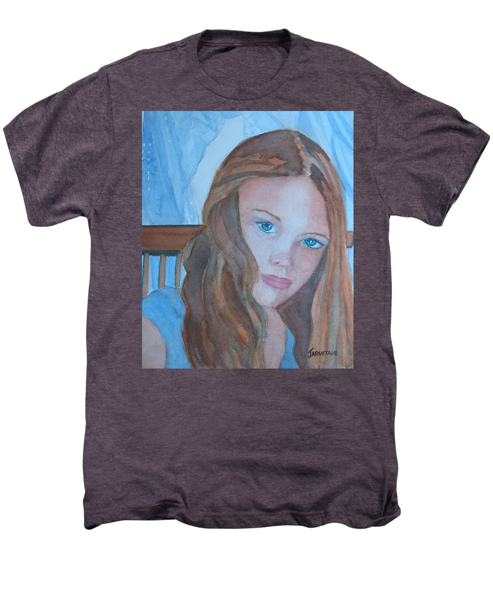 Girls Men's Premium T-Shirt featuring the painting Soft Steel by Jenny Armitage