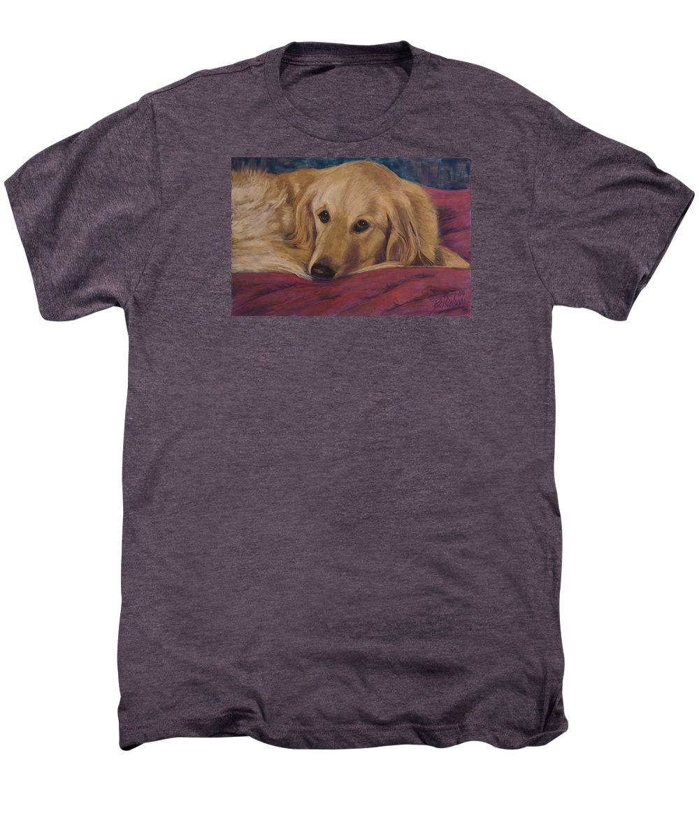 Dogs Men's Premium T-Shirt featuring the painting Soulfull Eyes by Billie Colson