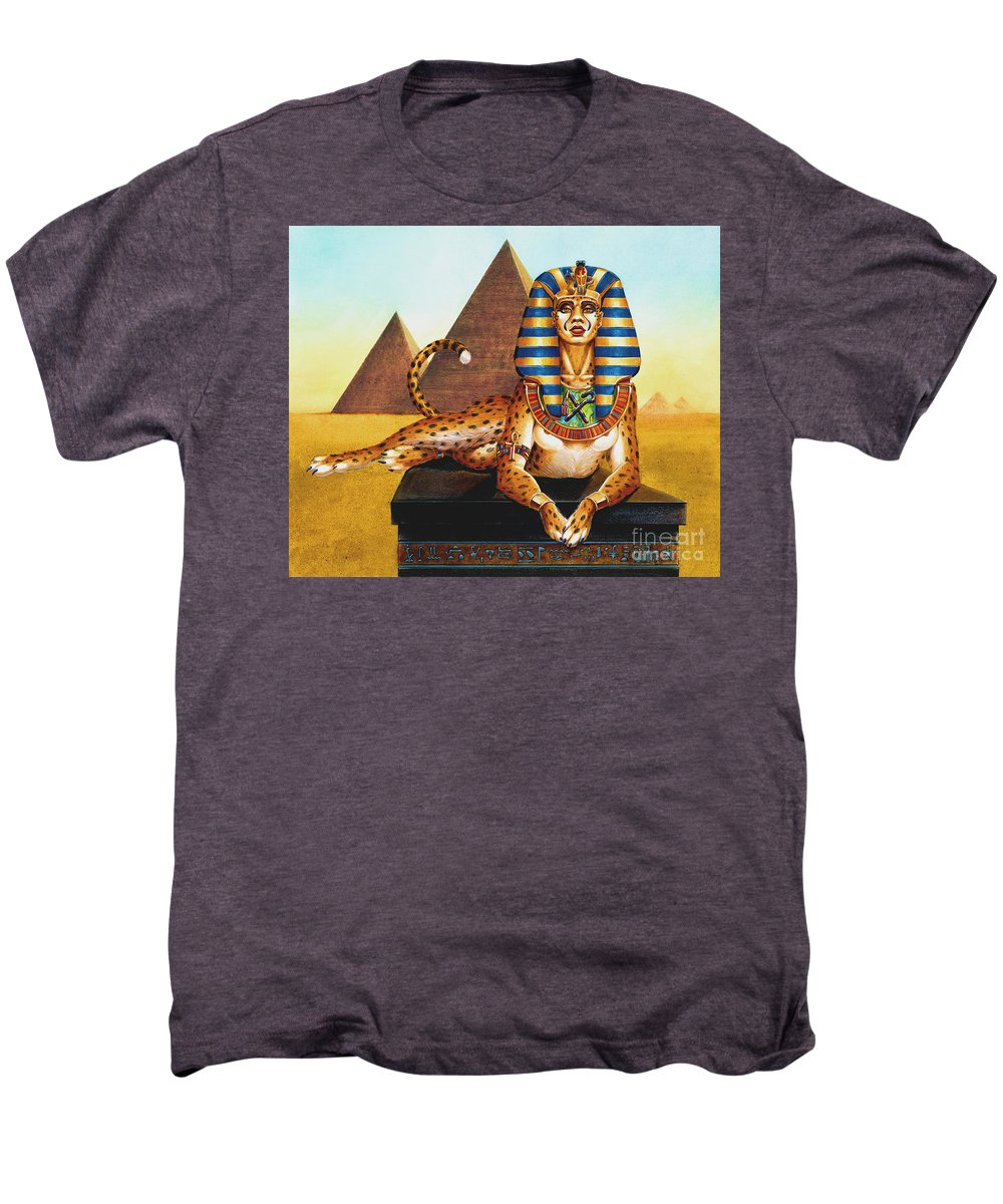 Cat Men's Premium T-Shirt featuring the painting Sphinx On Plinth by Melissa A Benson
