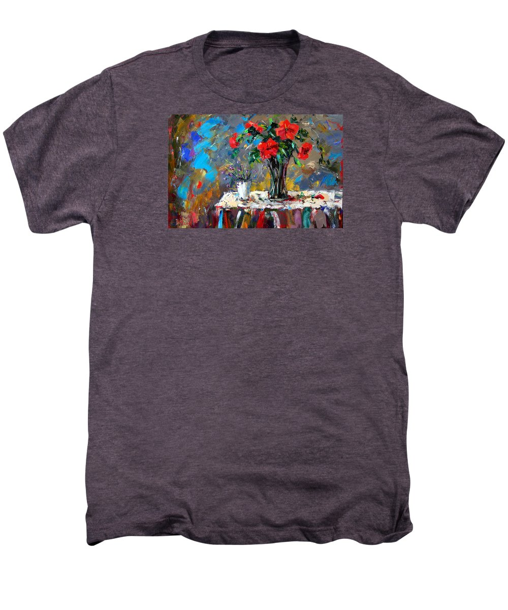 Flowers Men's Premium T-Shirt featuring the painting Spring Blooms by Debra Hurd