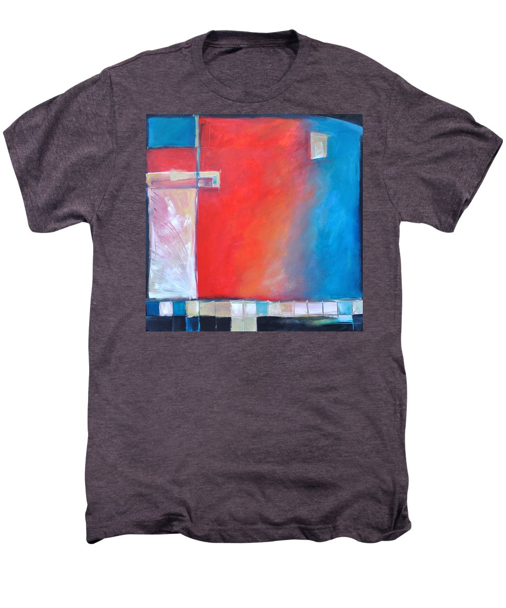 Abstract Men's Premium T-Shirt featuring the painting Structures And Solitude Revisited by Tim Nyberg