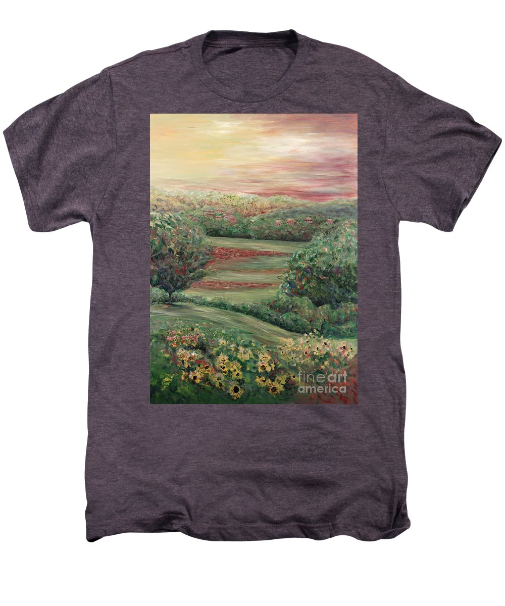 Landscape Men's Premium T-Shirt featuring the painting Summer In Tuscany by Nadine Rippelmeyer