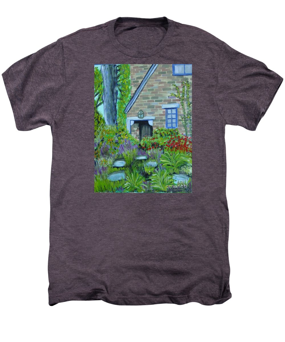 Cottage Men's Premium T-Shirt featuring the painting Summer Retreat by Laurie Morgan