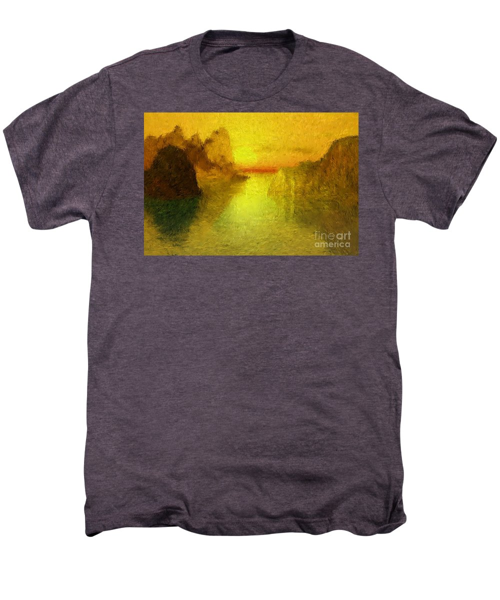 Nature Men's Premium T-Shirt featuring the digital art Sunrise by David Lane