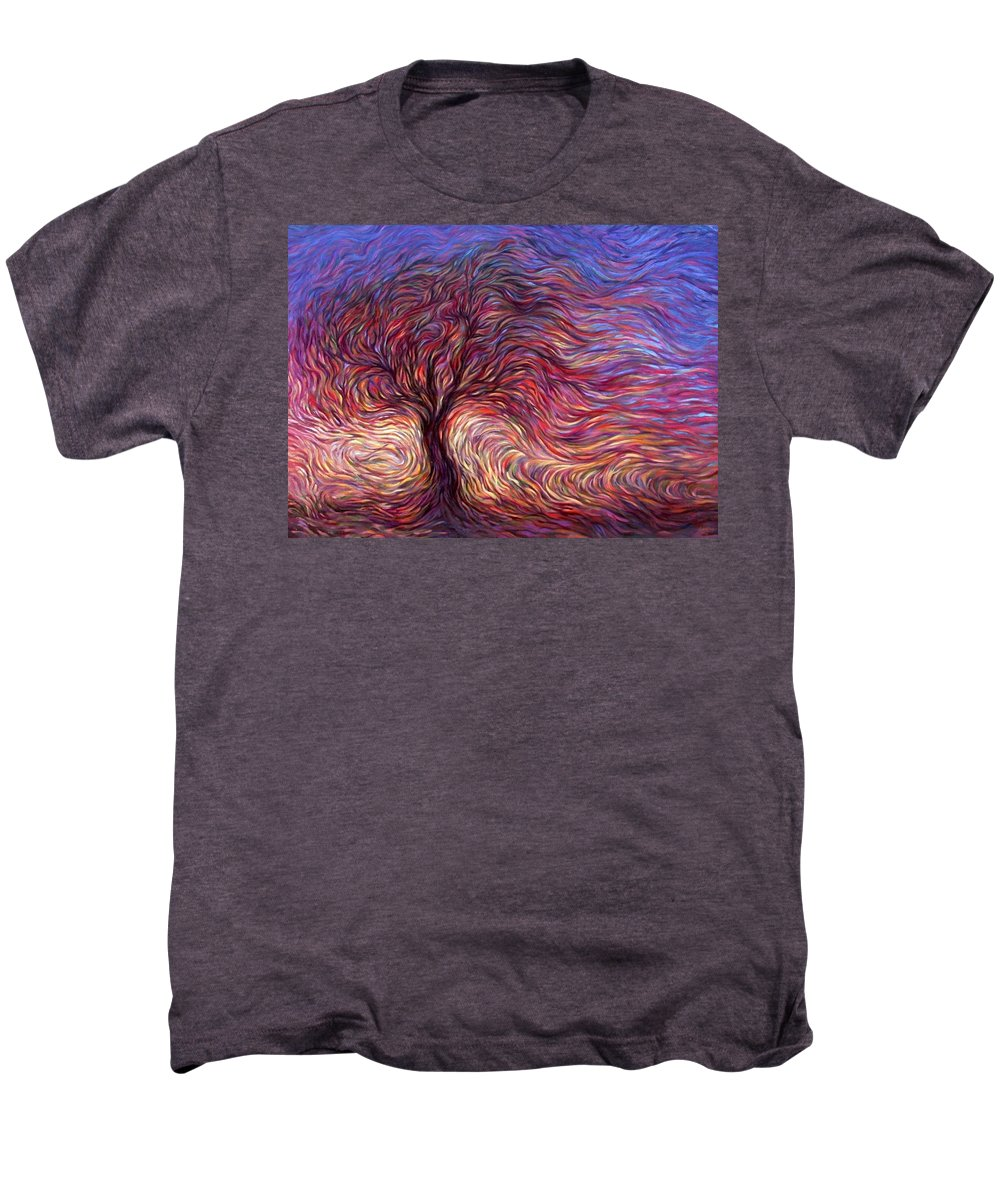 Tree Men's Premium T-Shirt featuring the painting Sunset Tree by Hans Droog