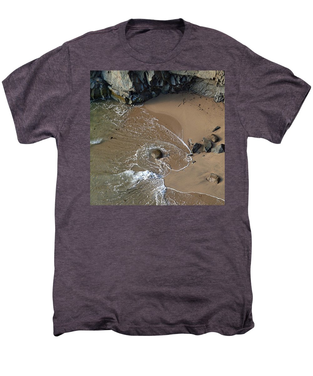 Big Sur Men's Premium T-Shirt featuring the photograph Swirling Surf And Rocks by Charlene Mitchell