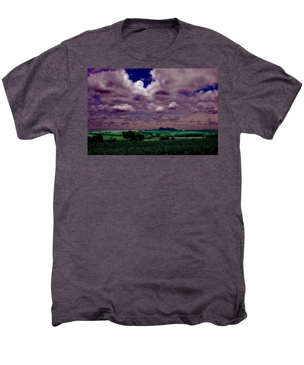 Landscape Men's Premium T-Shirt featuring the photograph Tarkio Moon by Steve Karol
