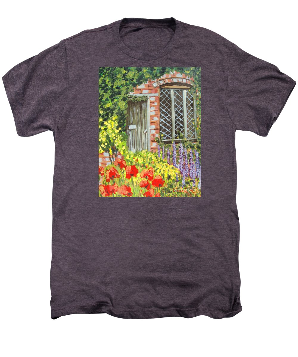 Windows Men's Premium T-Shirt featuring the painting The Artist's Cottage by Laurie Morgan