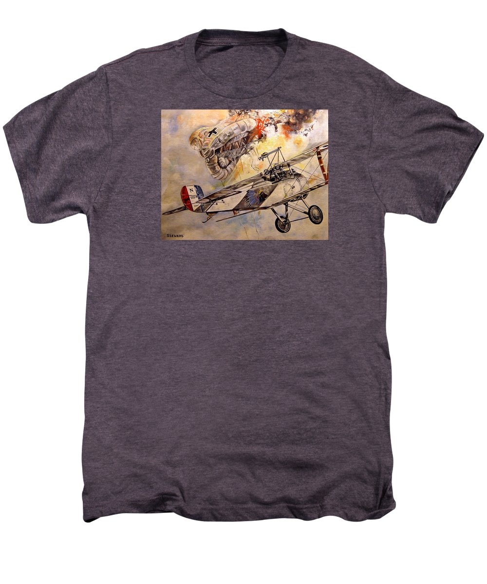 Military Men's Premium T-Shirt featuring the painting The Balloon Buster by Marc Stewart
