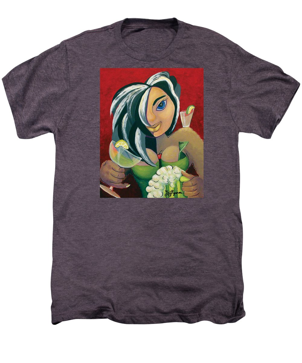 Bar Men's Premium T-Shirt featuring the painting The Barwaitress by Elizabeth Lisy Figueroa