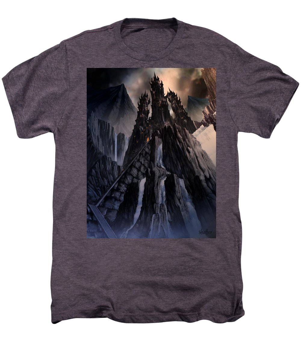 Architectural Men's Premium T-Shirt featuring the mixed media The Dragon Gate by Curtiss Shaffer
