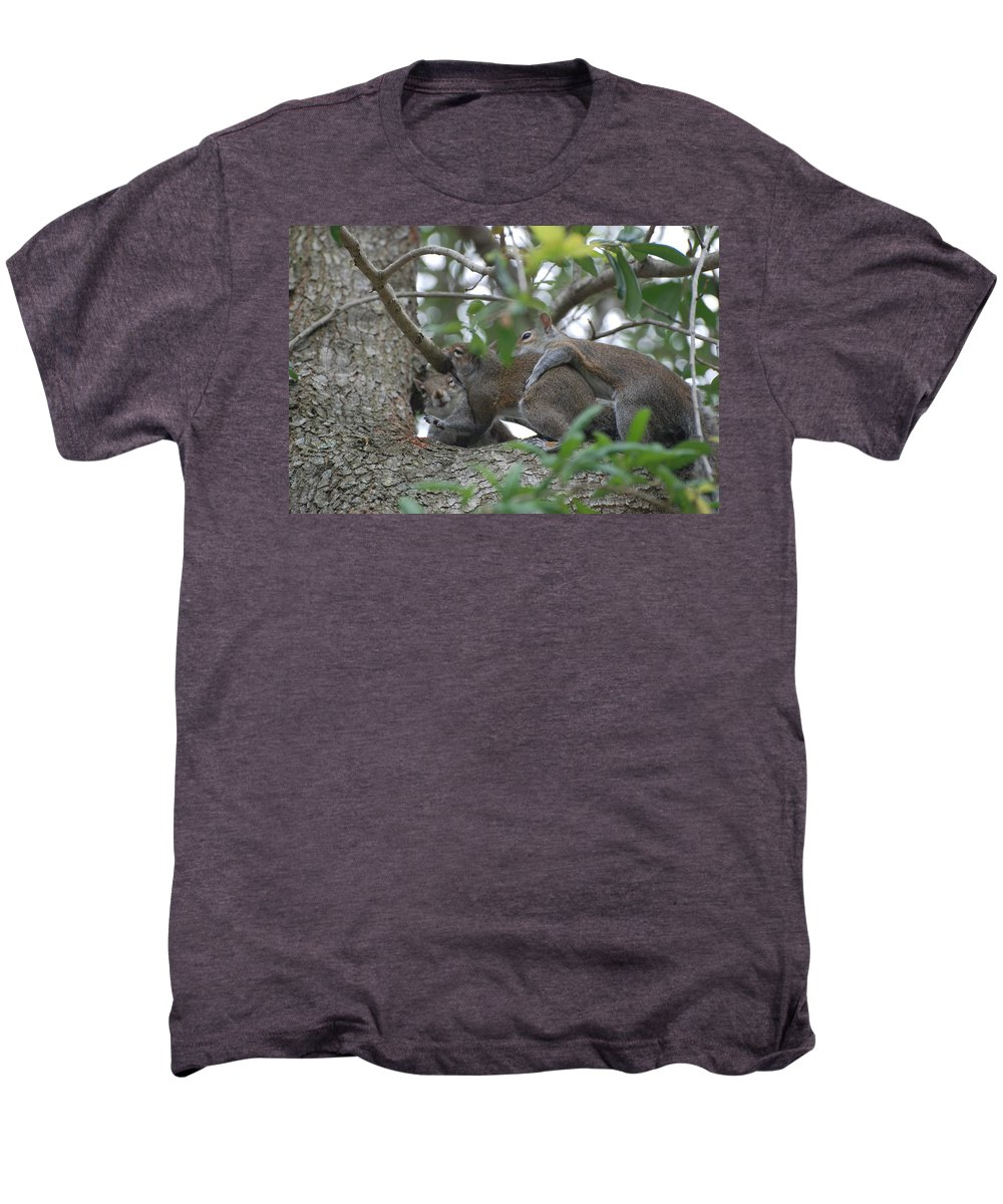 Squirrels Men's Premium T-Shirt featuring the photograph The Fight For Life by Rob Hans
