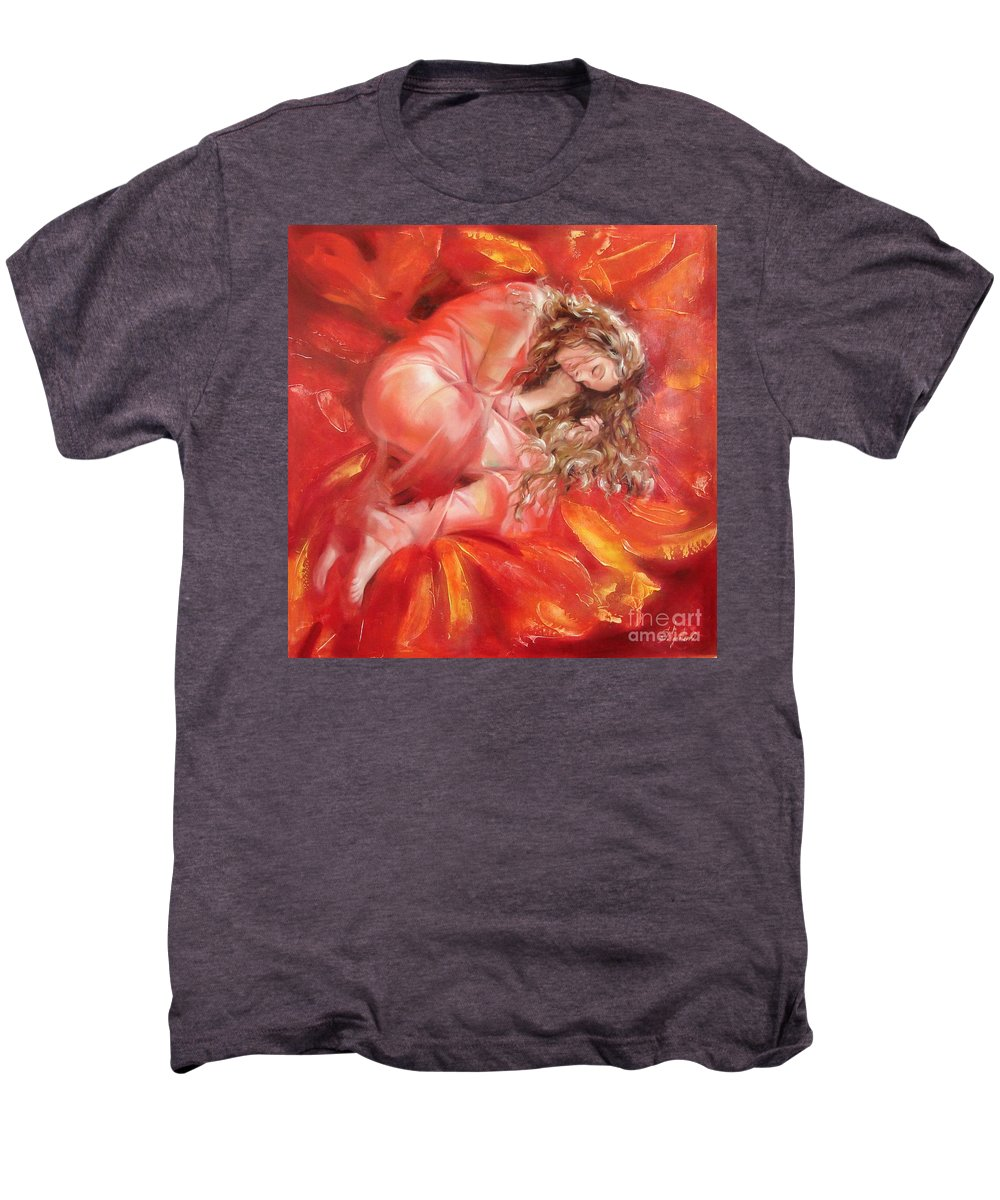 Oil Men's Premium T-Shirt featuring the painting The Flower Paradise by Sergey Ignatenko