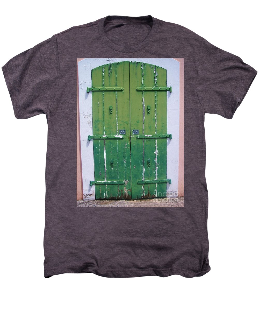 Architecture Men's Premium T-Shirt featuring the photograph The Green Door by Debbi Granruth