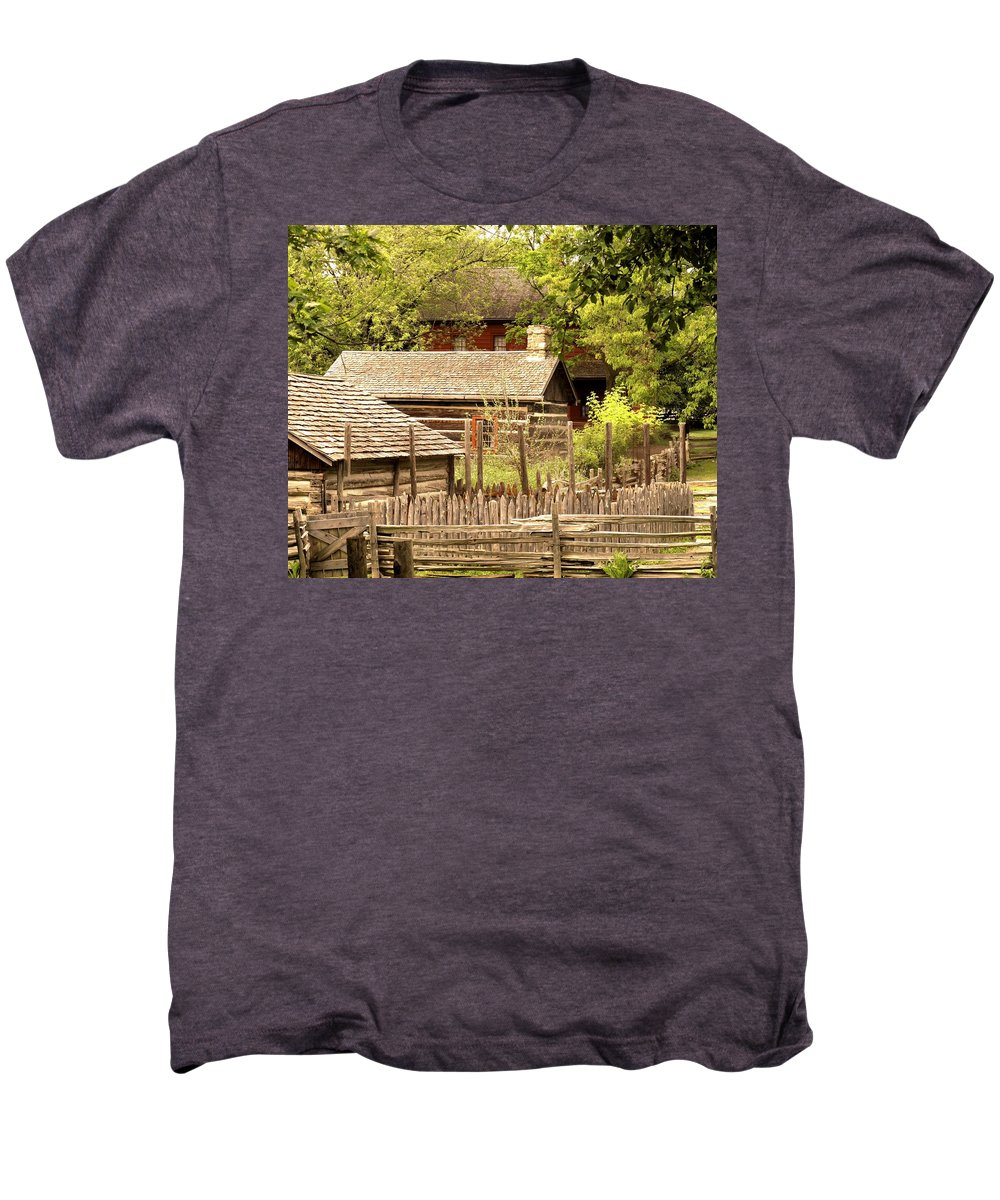 Log Cabins Men's Premium T-Shirt featuring the photograph The Homestead by Ian MacDonald