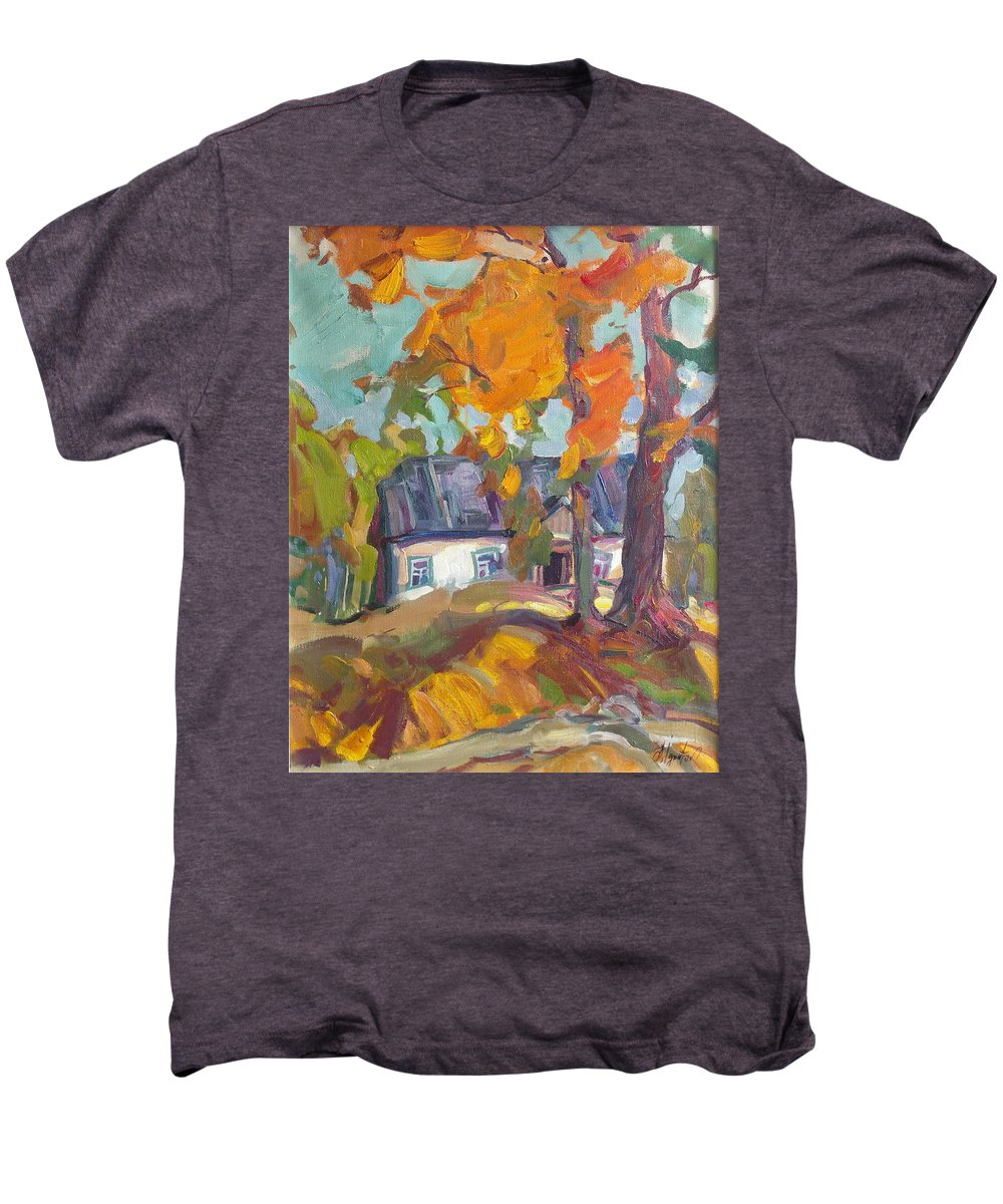 Oil Men's Premium T-Shirt featuring the painting The House In Chervonka Village by Sergey Ignatenko