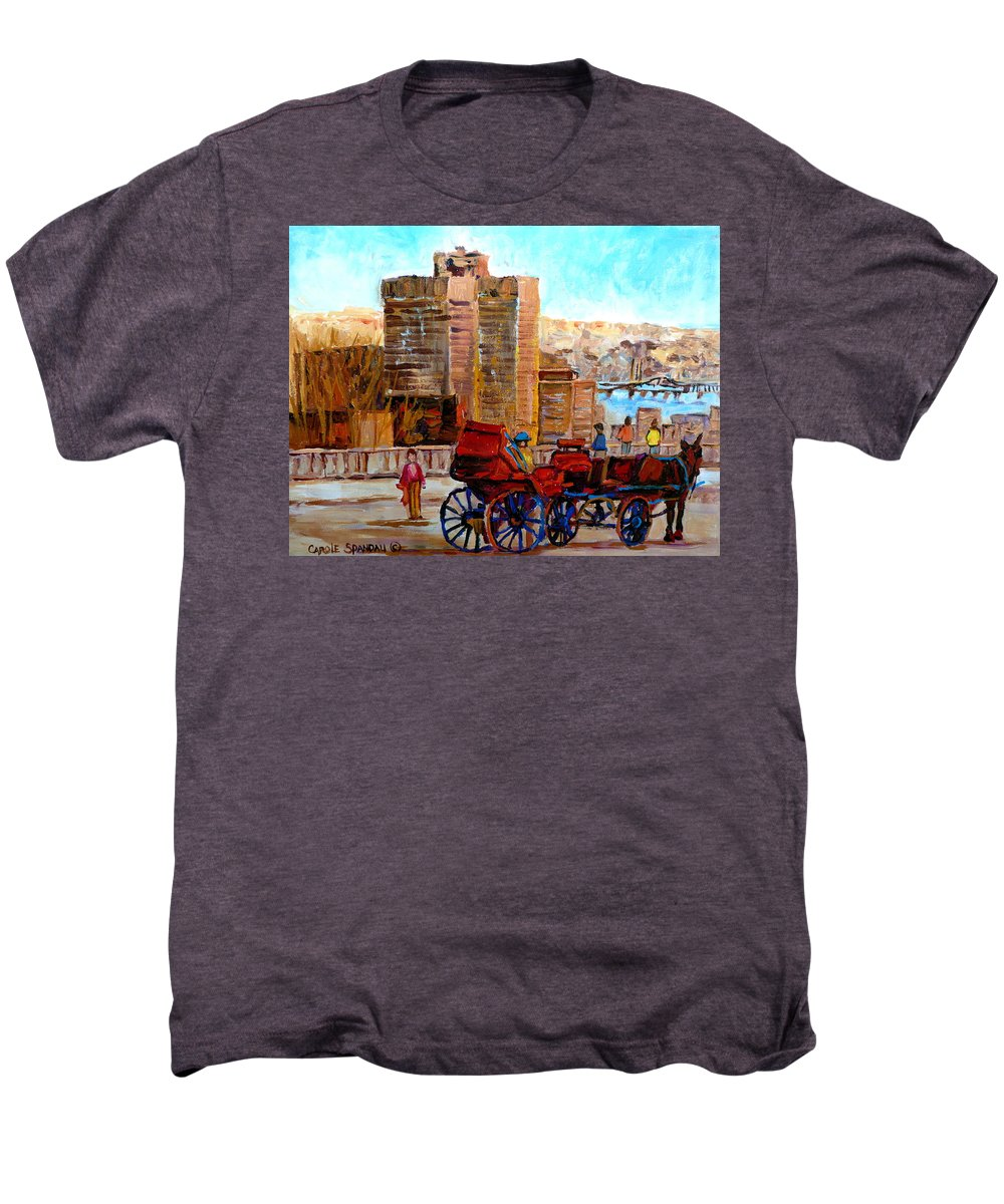 Montreal Street Scene Men's Premium T-Shirt featuring the painting The Lookout On Mount Royal Montreal by Carole Spandau