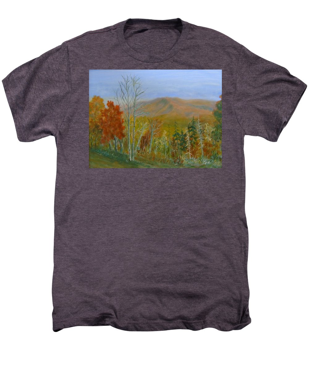 Mountains; Trees; Fall Colors Men's Premium T-Shirt featuring the painting The Parkway View by Ben Kiger