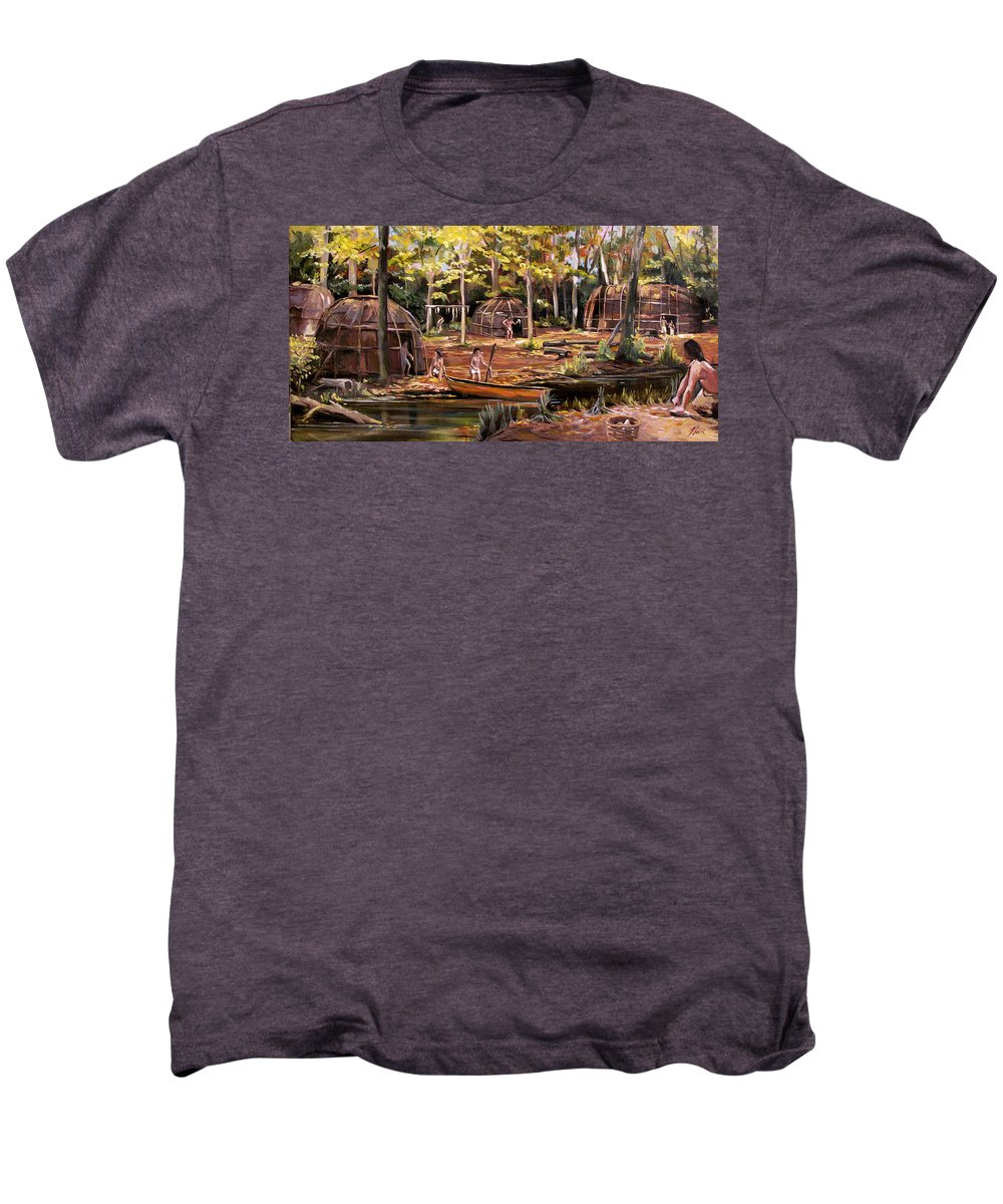 Institute Of American Indian Men's Premium T-Shirt featuring the painting The Pequots by Nancy Griswold