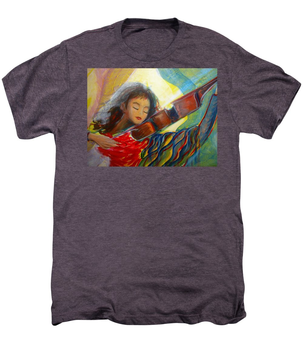 Violin Men's Premium T-Shirt featuring the painting The Sweetest Sounds by Regina Walsh