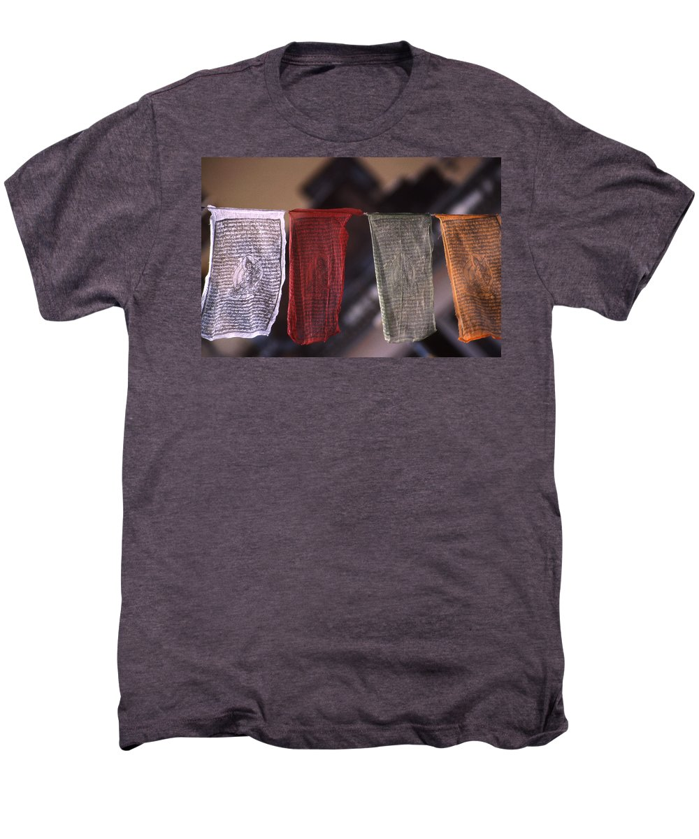 Prayer Flag Men's Premium T-Shirt featuring the photograph Tibetan Prayer Flags by Patrick Klauss