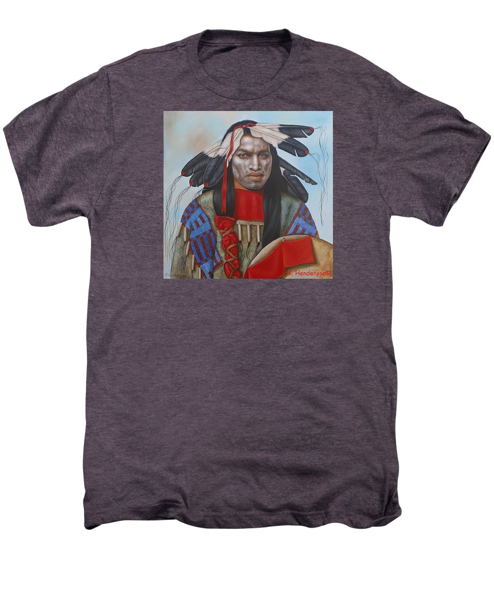 American Indian Men's Premium T-Shirt featuring the painting Time Is At Hand by K Henderson