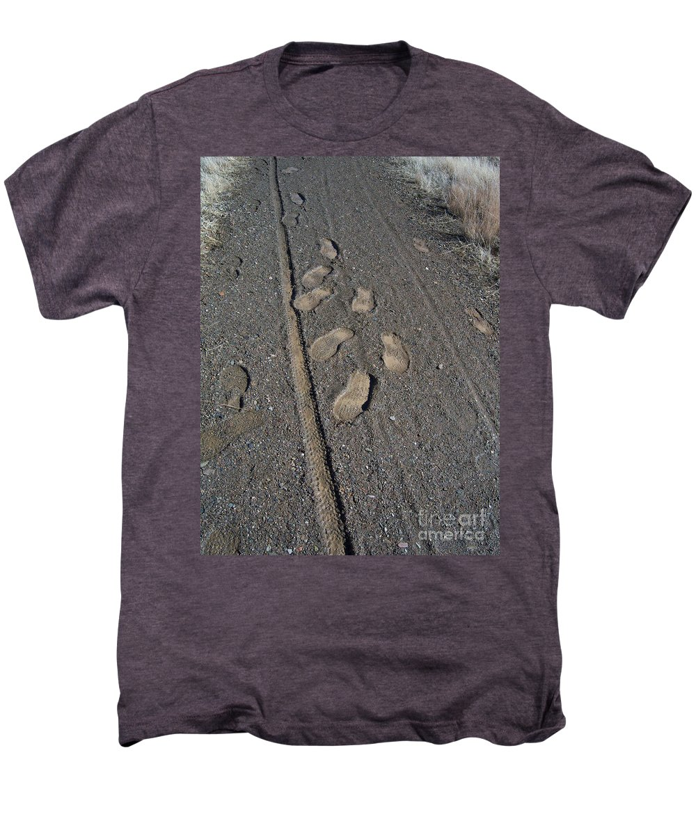Prescott Men's Premium T-Shirt featuring the photograph Tire Tracks And Foot Prints by Heather Kirk