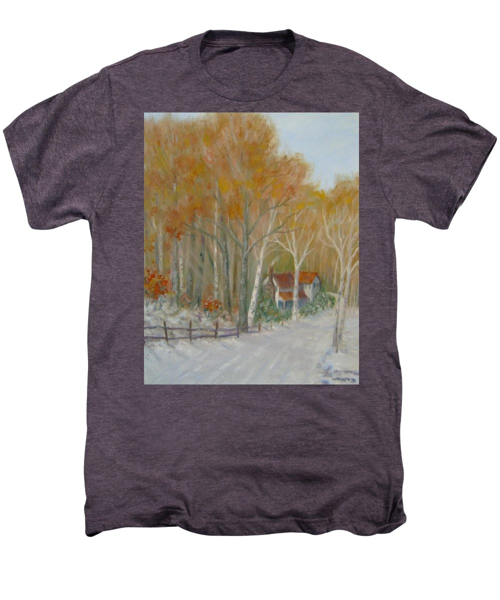 Country Road; House; Snow Men's Premium T-Shirt featuring the painting To Grandma's House by Ben Kiger