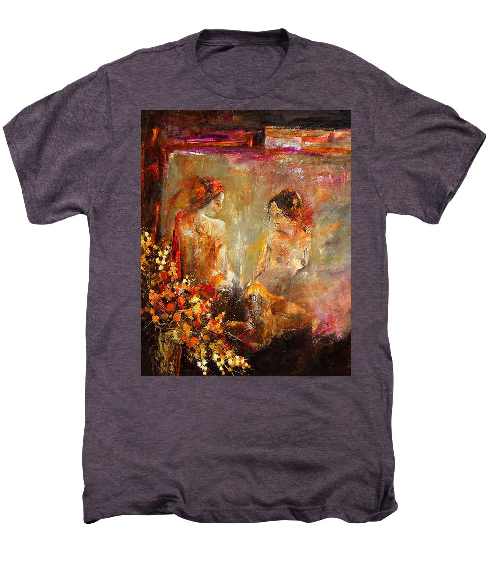 Girl Nude Men's Premium T-Shirt featuring the painting Two Nudes by Pol Ledent