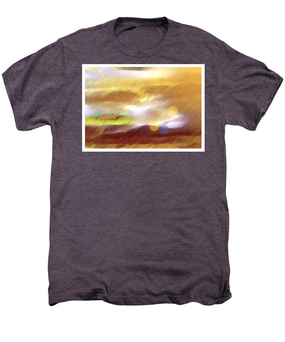 Landscape Men's Premium T-Shirt featuring the painting Valleylights by Anil Nene
