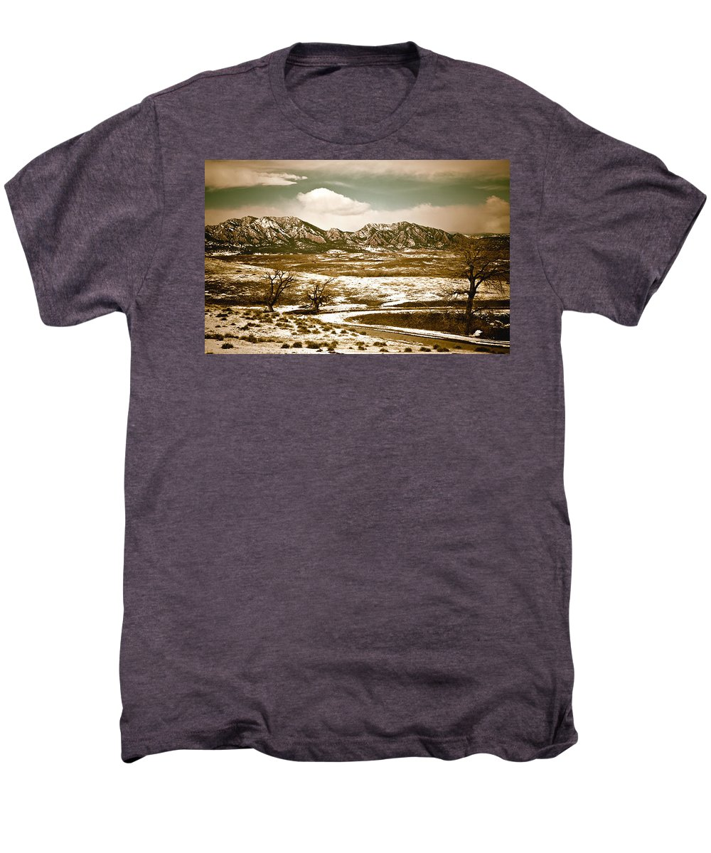 Landscape Men's Premium T-Shirt featuring the photograph Flatironsview From Superior by Marilyn Hunt