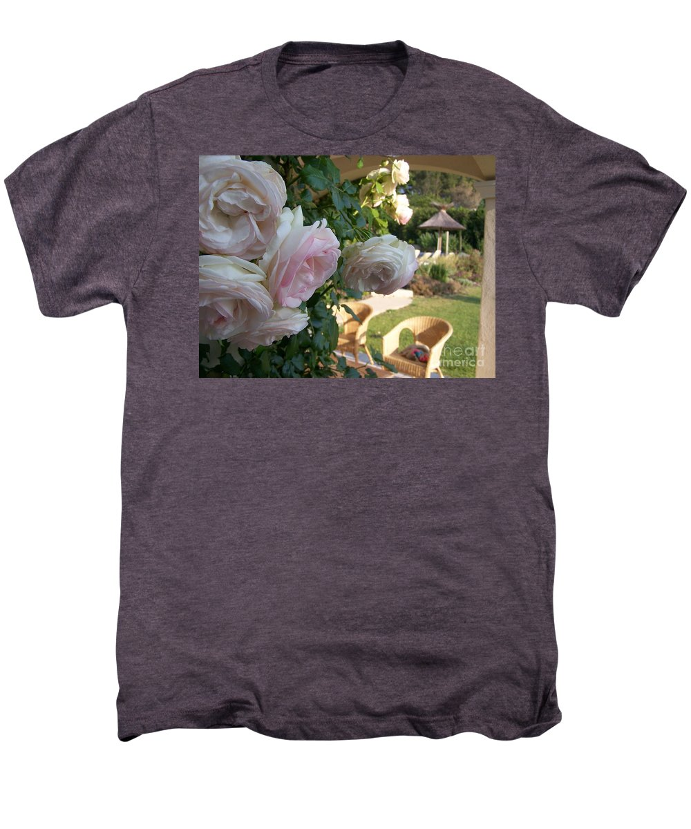 Roses Men's Premium T-Shirt featuring the photograph Villa Roses by Nadine Rippelmeyer