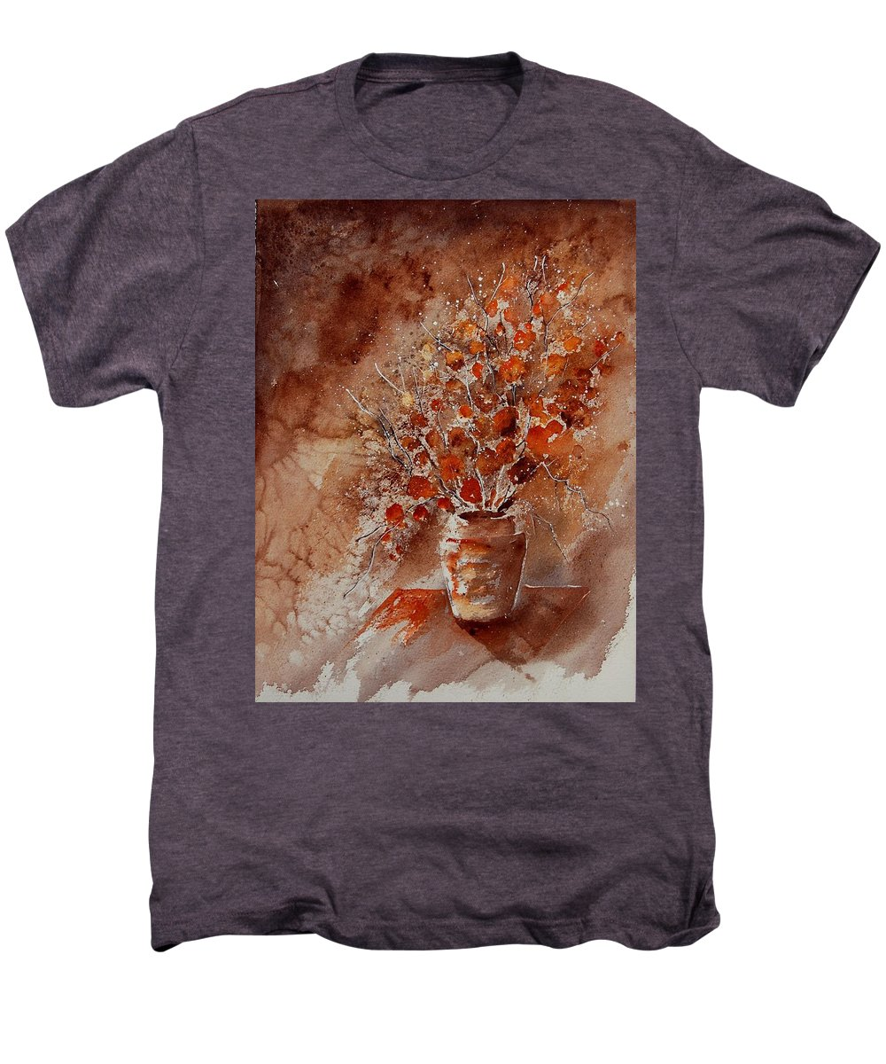 Poppies Men's Premium T-Shirt featuring the painting Watercolor Autumn Bunch by Pol Ledent