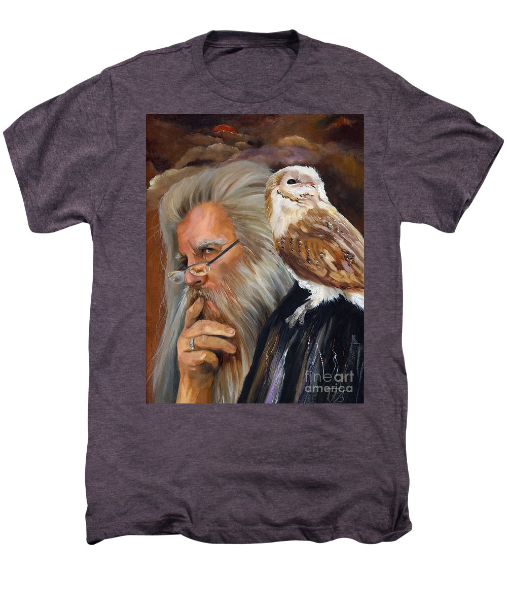 Wizard Men's Premium T-Shirt featuring the painting What If... by J W Baker
