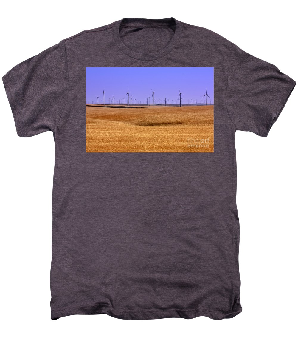 Wind Turbines Men's Premium T-Shirt featuring the photograph Wheat Fields And Wind Turbines by Carol Groenen