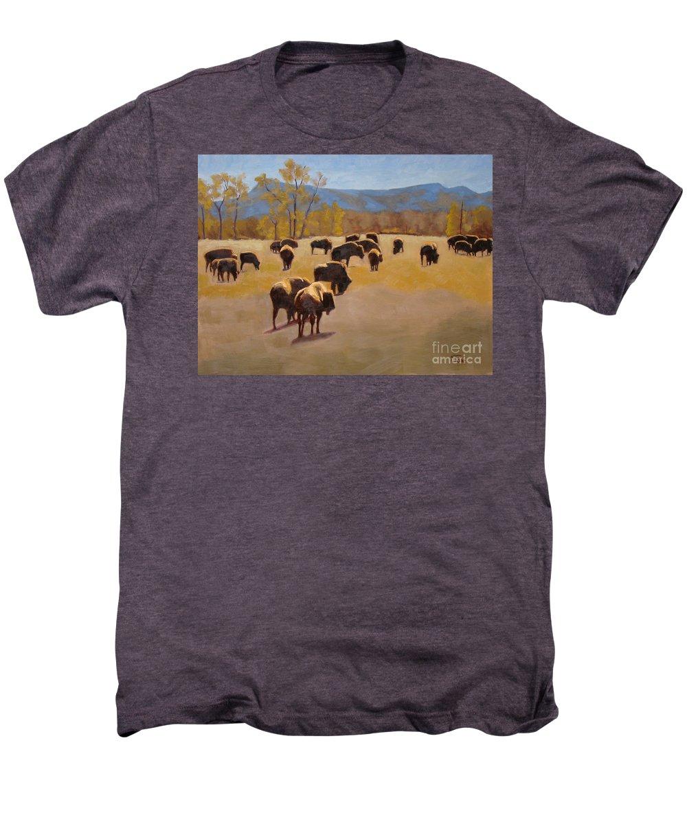 Buffalo Men's Premium T-Shirt featuring the painting Where The Buffalo Roam by Tate Hamilton