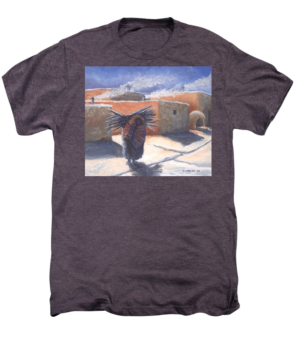 Adobe Men's Premium T-Shirt featuring the painting Winter's Work by Jerry McElroy