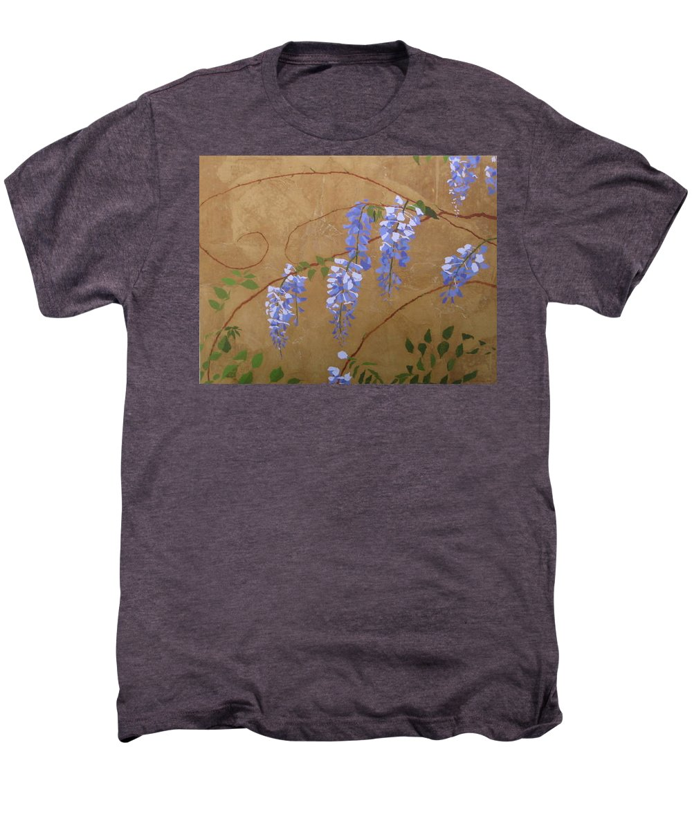 Periwinkle Wisteria Flowers Men's Premium T-Shirt featuring the painting Wisteria by Leah Tomaino