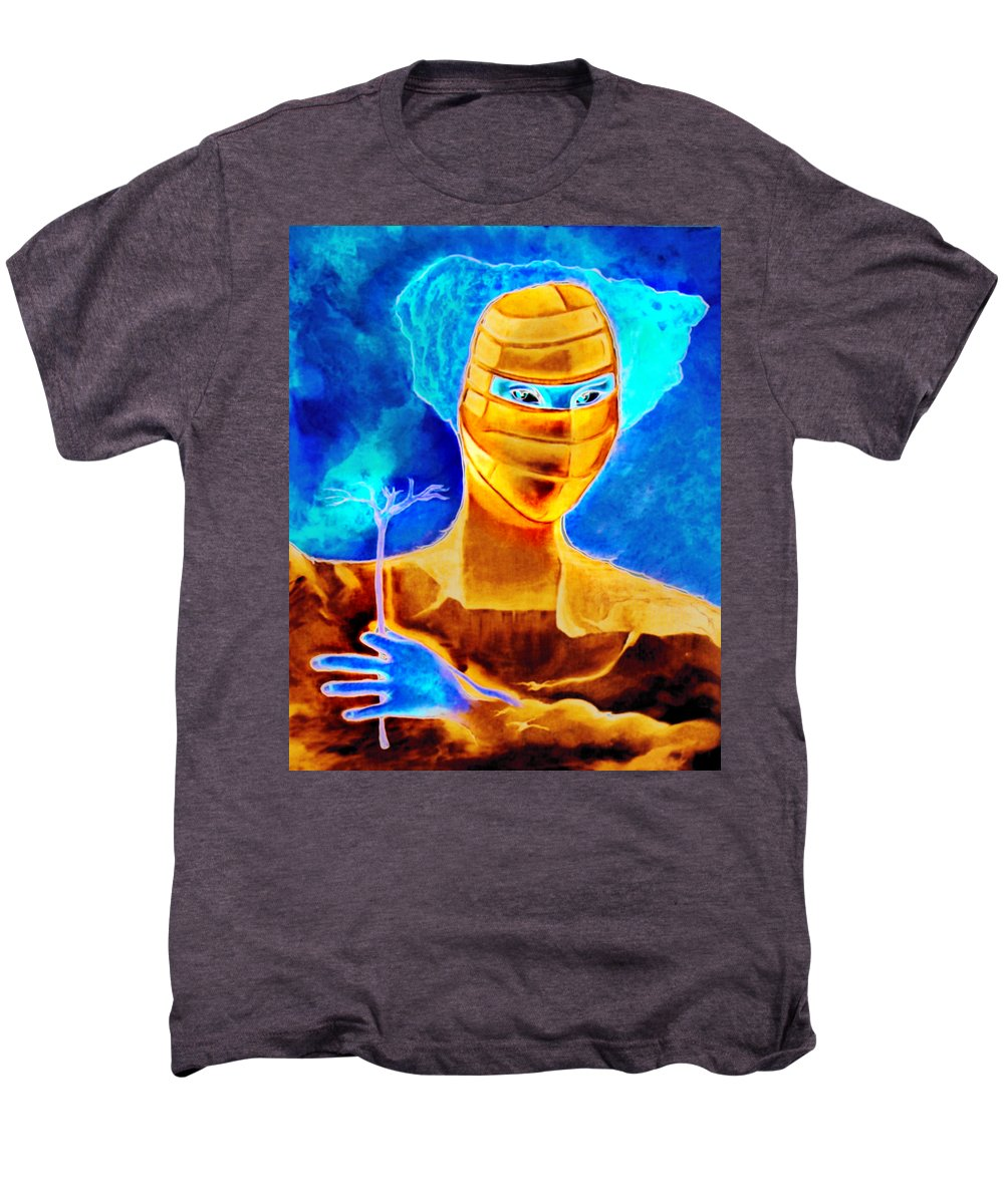 Blue Woman Mask Mistery Eyes Men's Premium T-Shirt featuring the painting Woman In The Blue Mask by Veronica Jackson