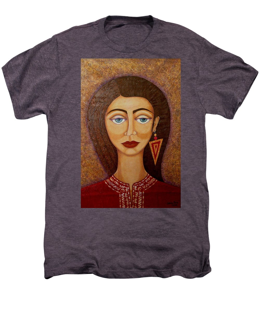 Market Men's Premium T-Shirt featuring the painting Woman S Market by Madalena Lobao-Tello
