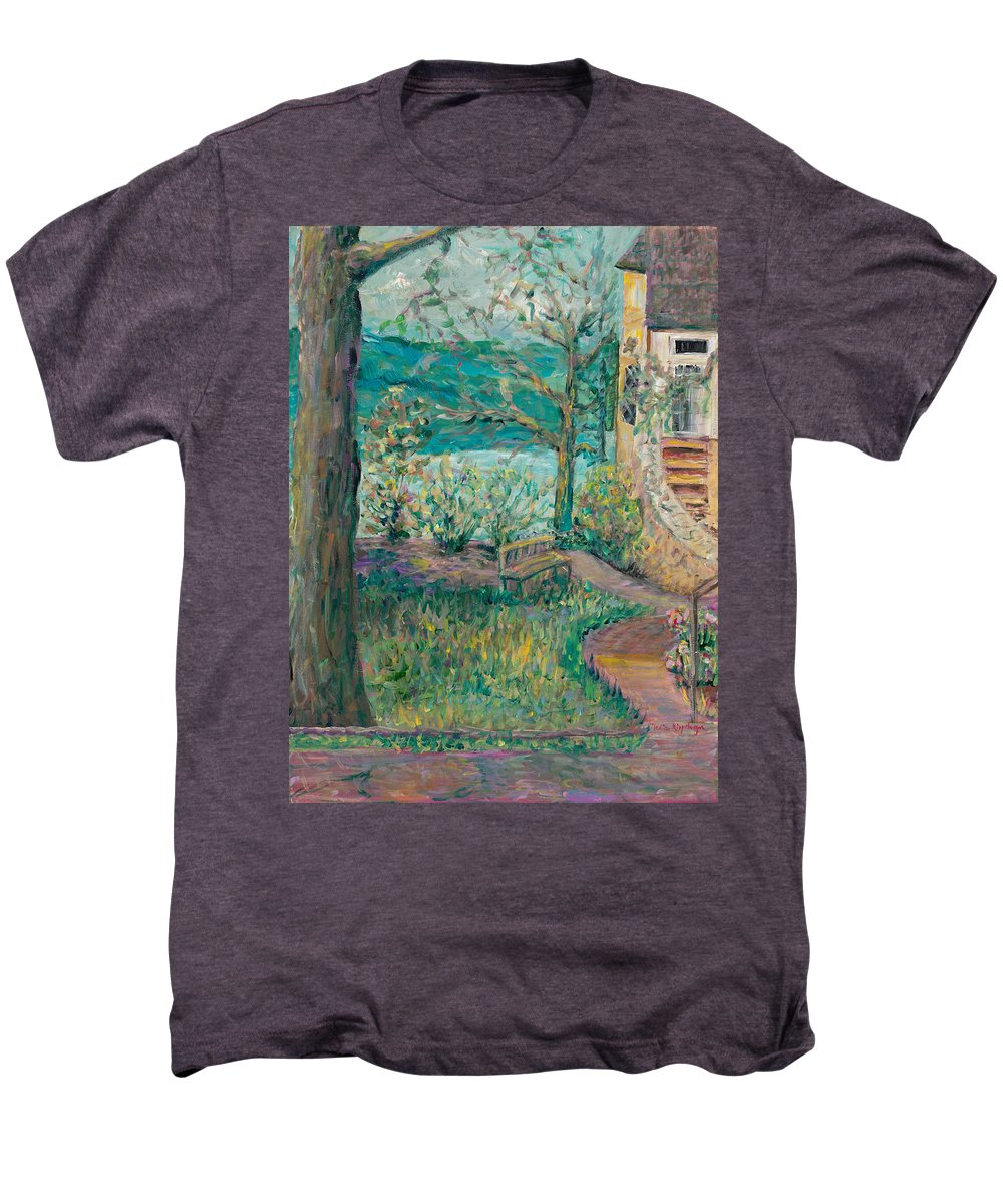Big Cedar Lodge Men's Premium T-Shirt featuring the painting Worman House At Big Cedar Lodge by Nadine Rippelmeyer
