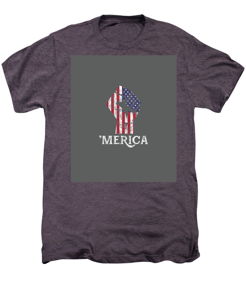 girls' Novelty T-shirts Men's Premium T-Shirt featuring the digital art Merica American Flag Shirt- 4th July Independence Day Tshirt by Unique Tees
